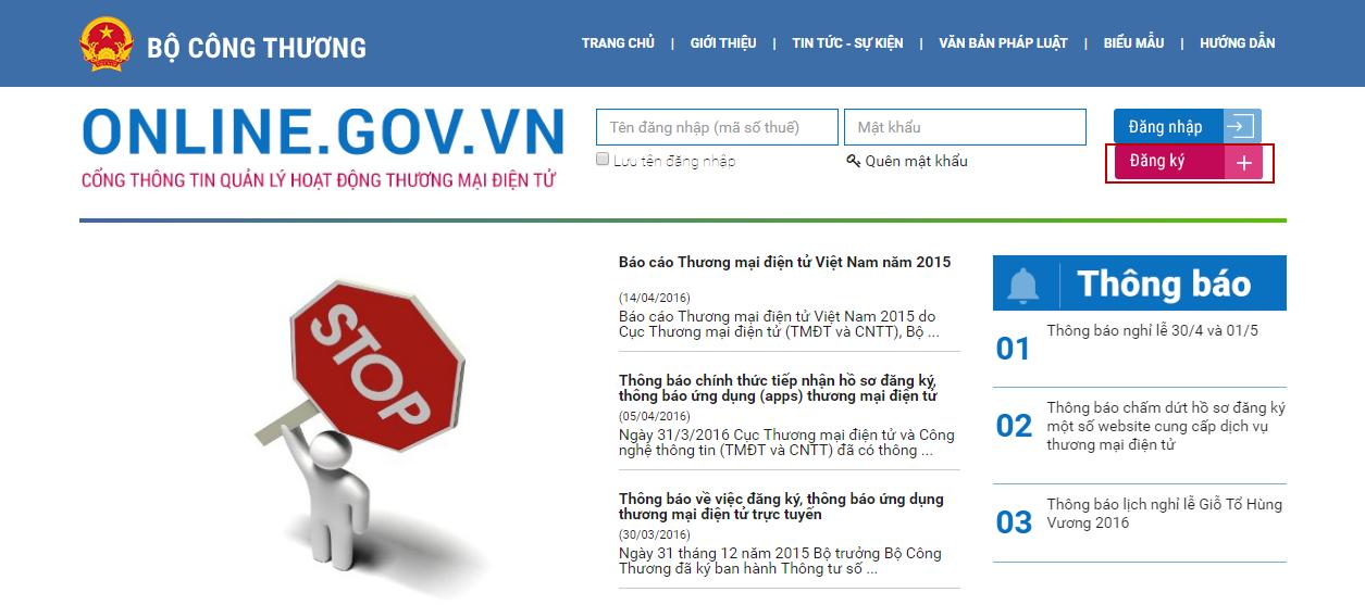 Trang website đăng ký website của Bộ công thương