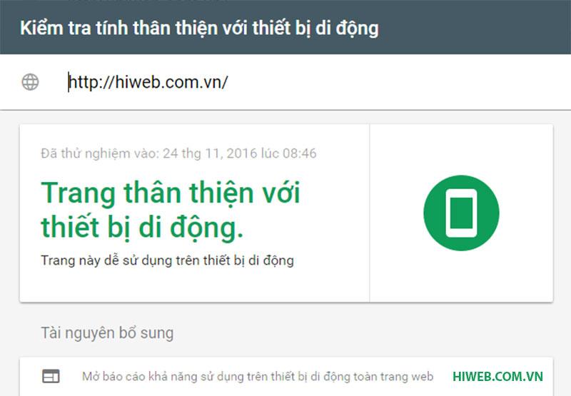 Kiểm tra tính năng thân thiện thiết bị mobile - Trang www.hiweb.com.vn