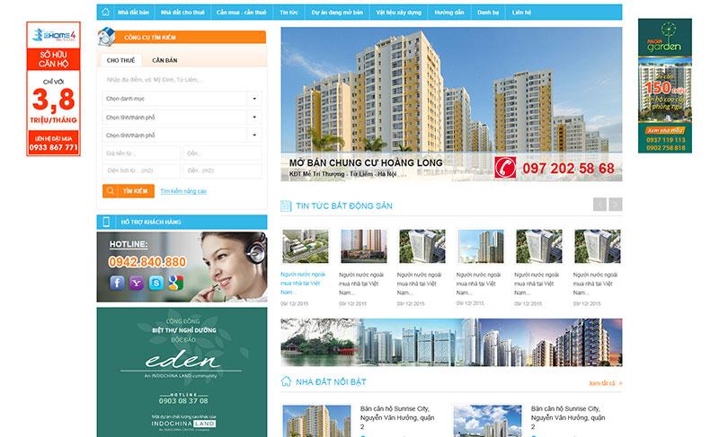Mẫu website mua bán nhà đất Hiweb thiết kế