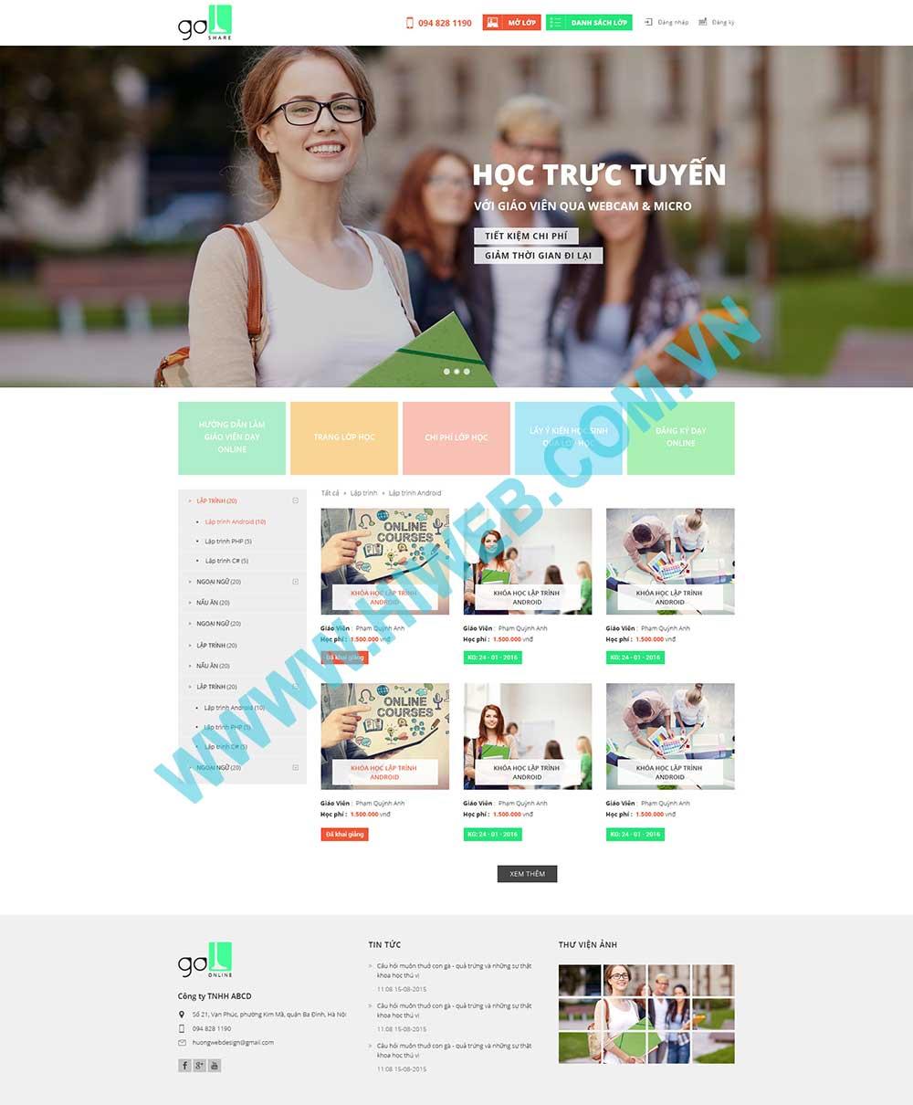 Mẫu website cung cấp các khóa học online Go Share