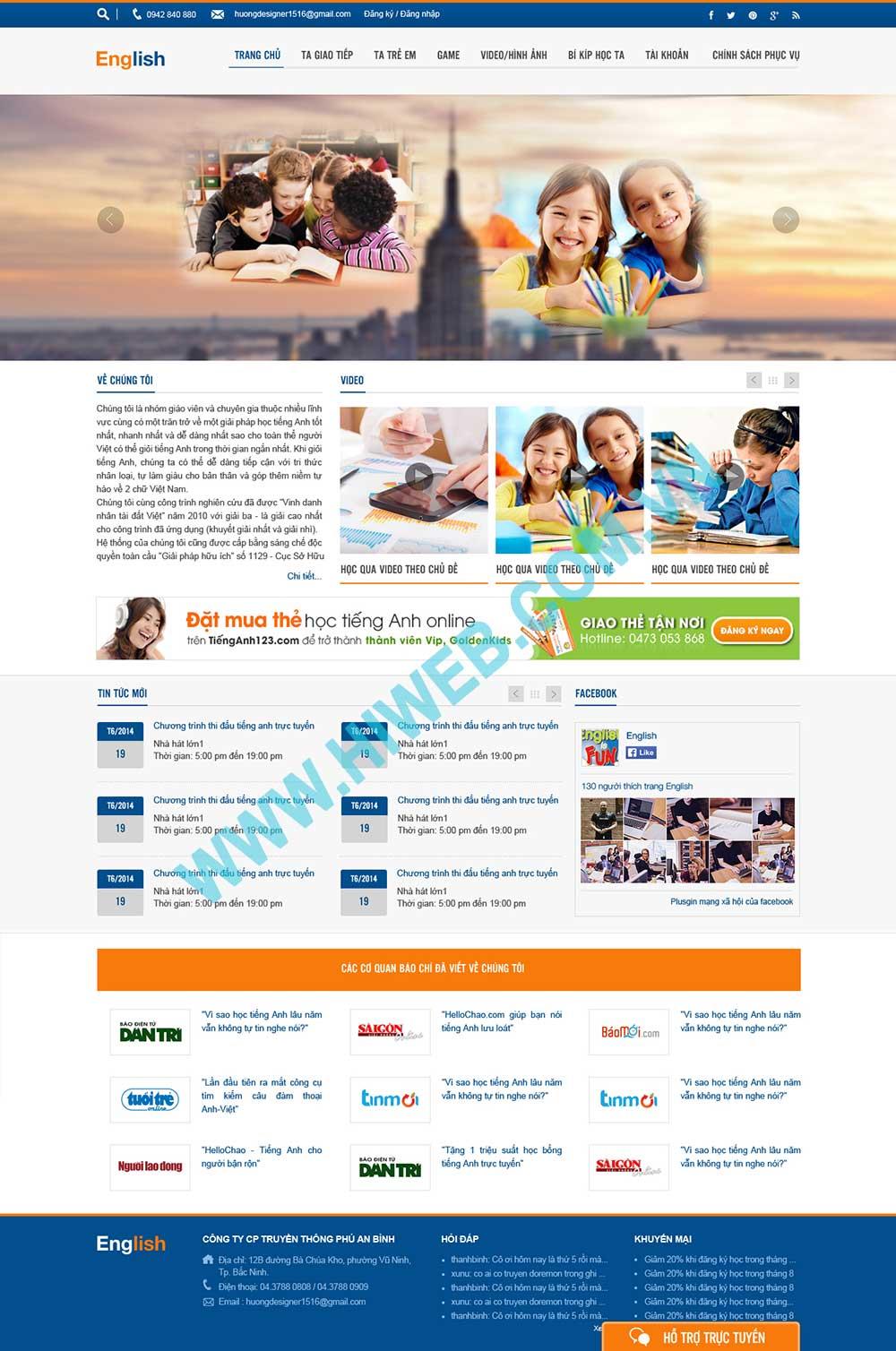 Mẫu thiết kế web dạy tiếng anh Online