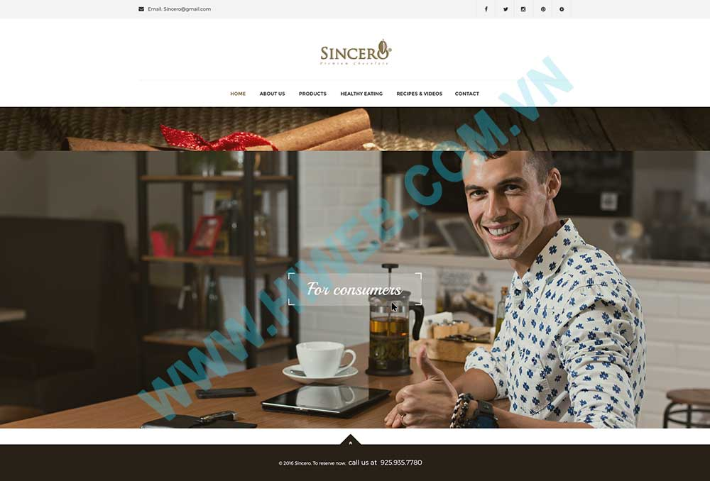 Mẫu thiết kế website socola Sincero