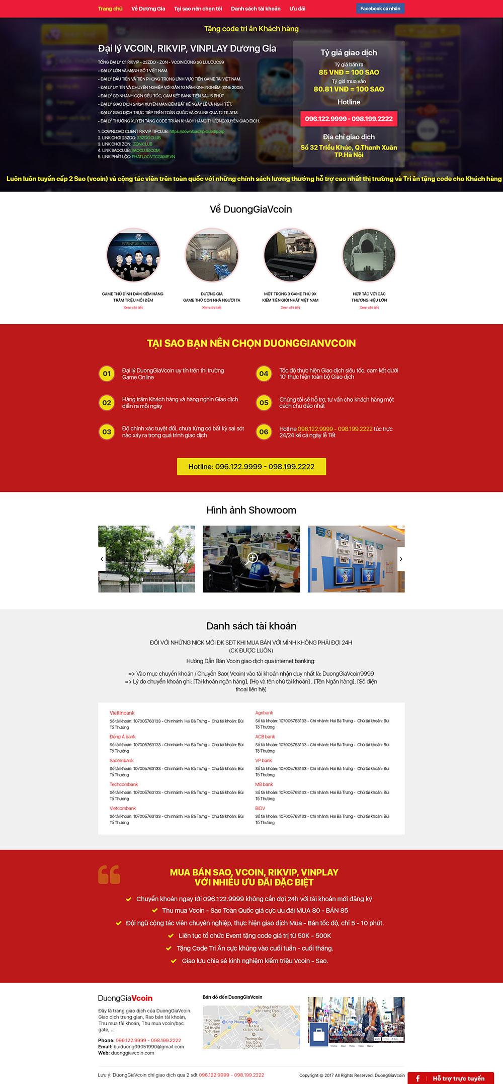 Mẫu thiết kế website mua bán Vcoin - HIWEB