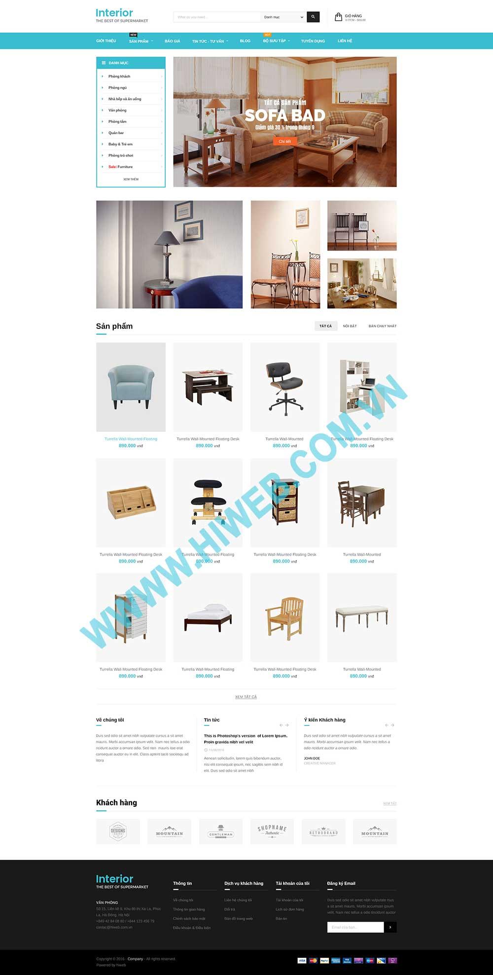 Mẫu website nội thất M006