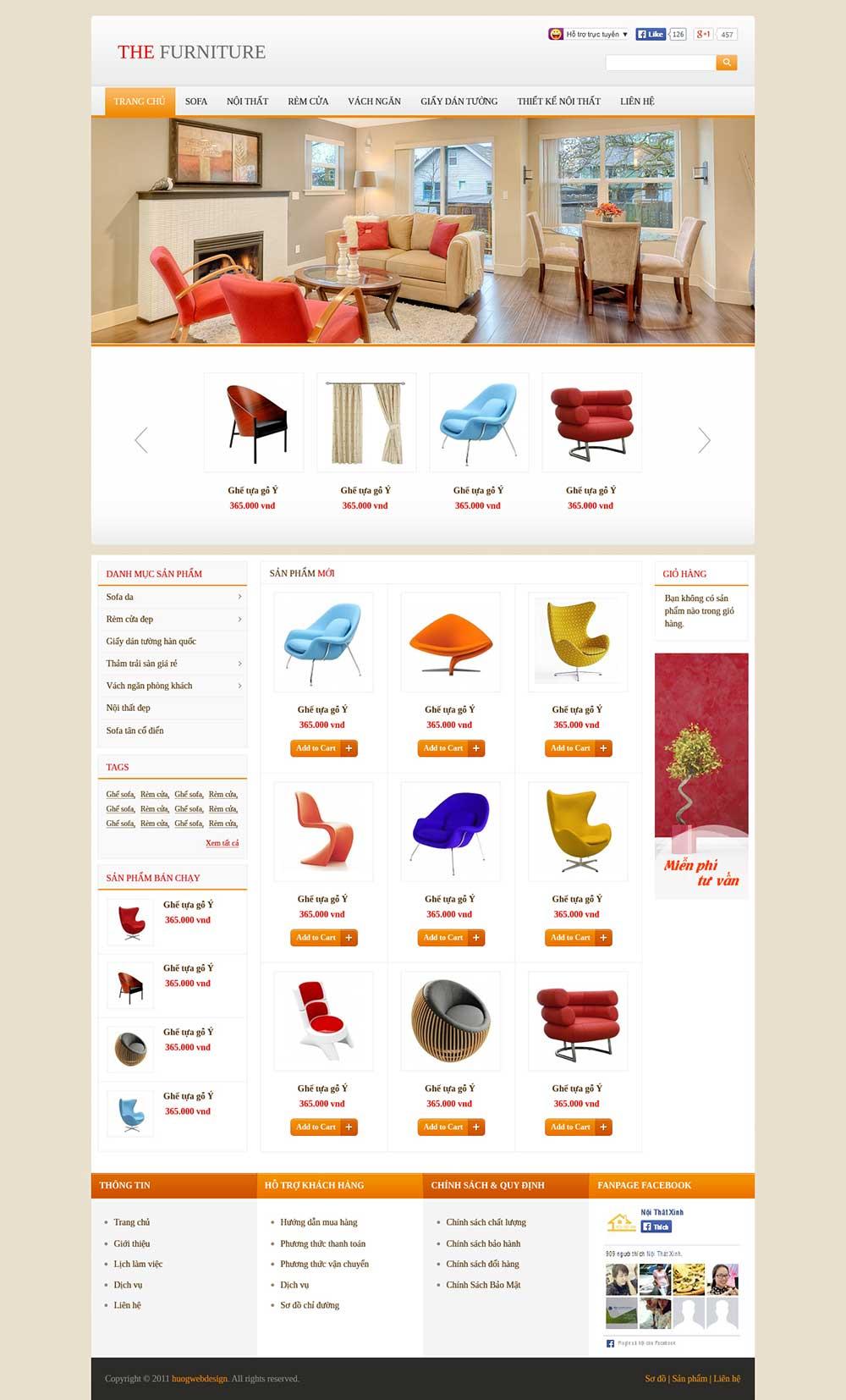 Mẫu website nội thất M003