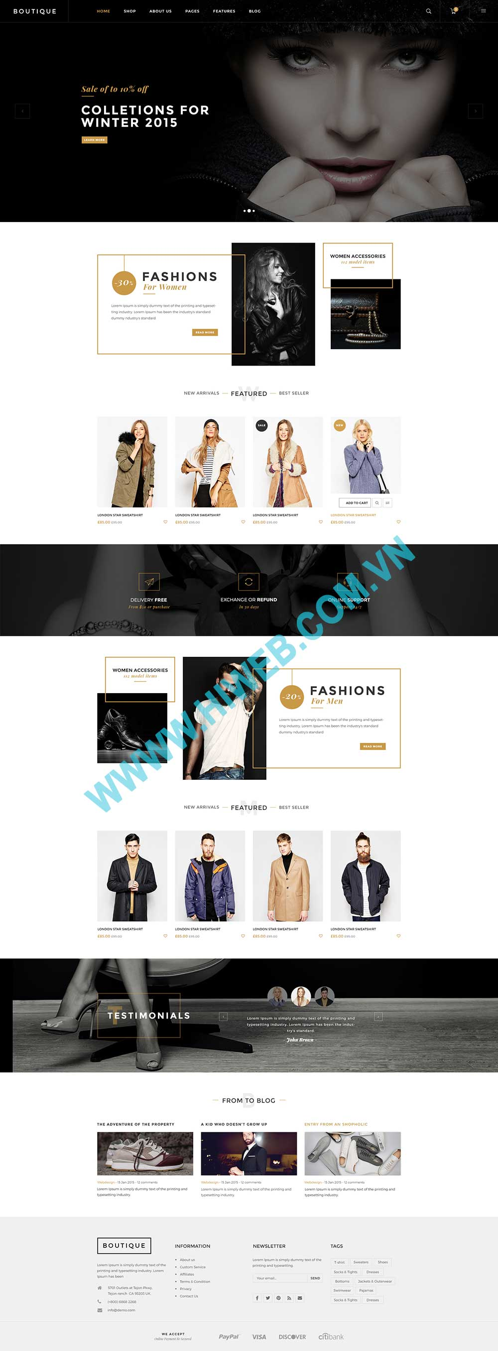 Mẫu website thời trang cao cấp
