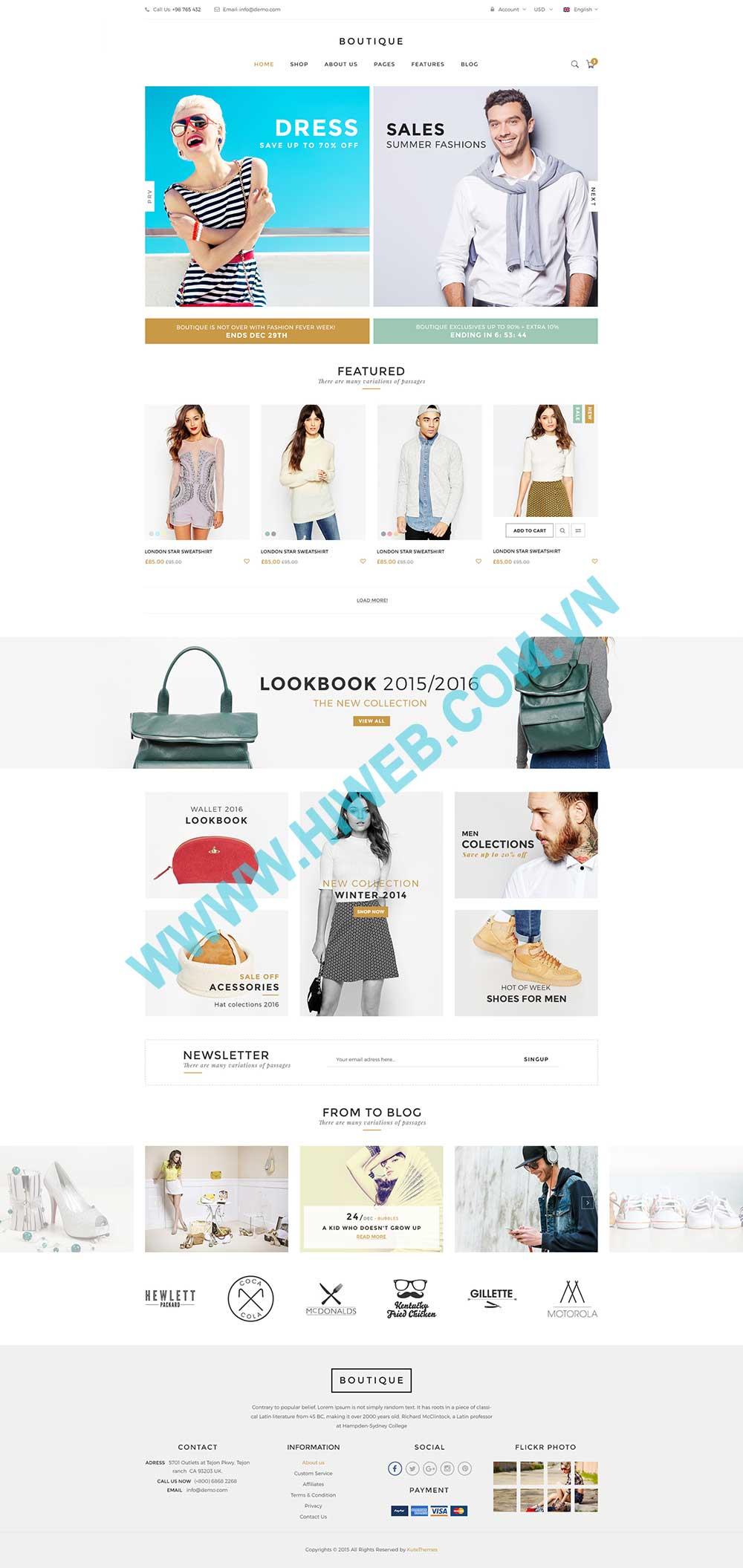 Mẫu website thời trang nam nữ
