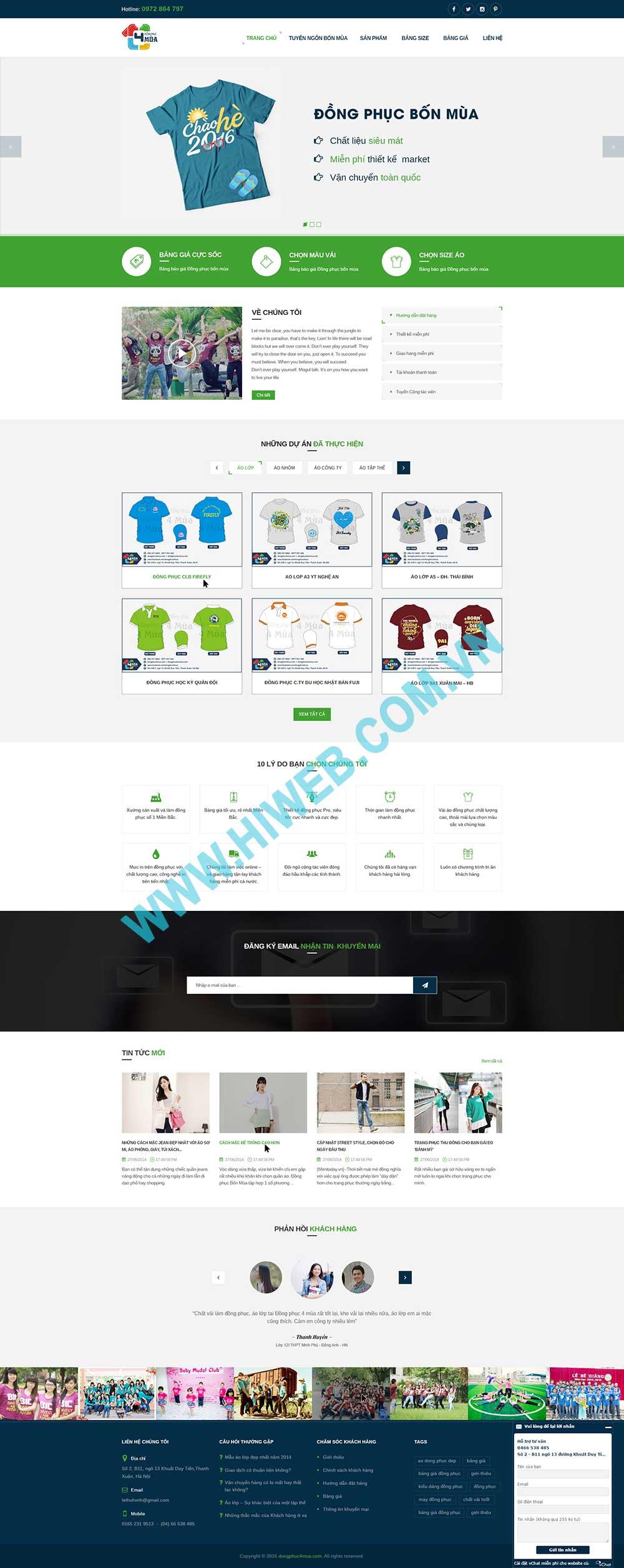 Mẫu thiết kế website đồng phục Bốn Mùa