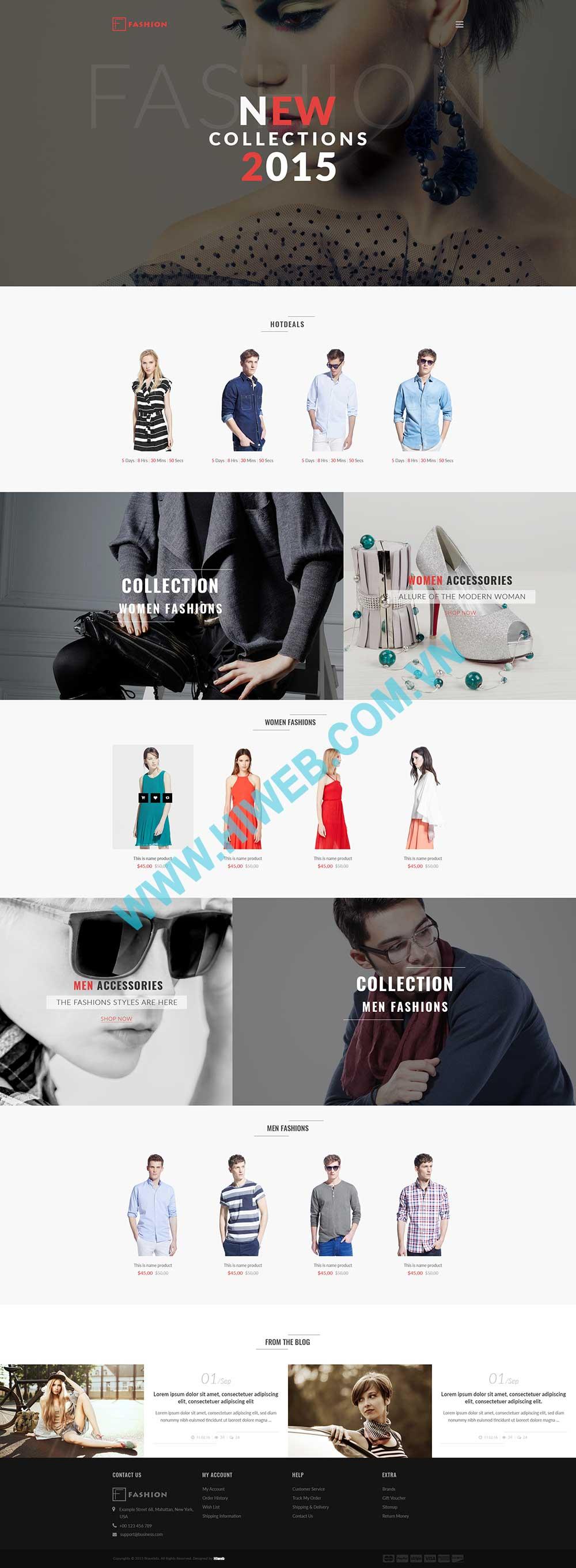 Mẫu thiết kế web thời trang ấn tượng