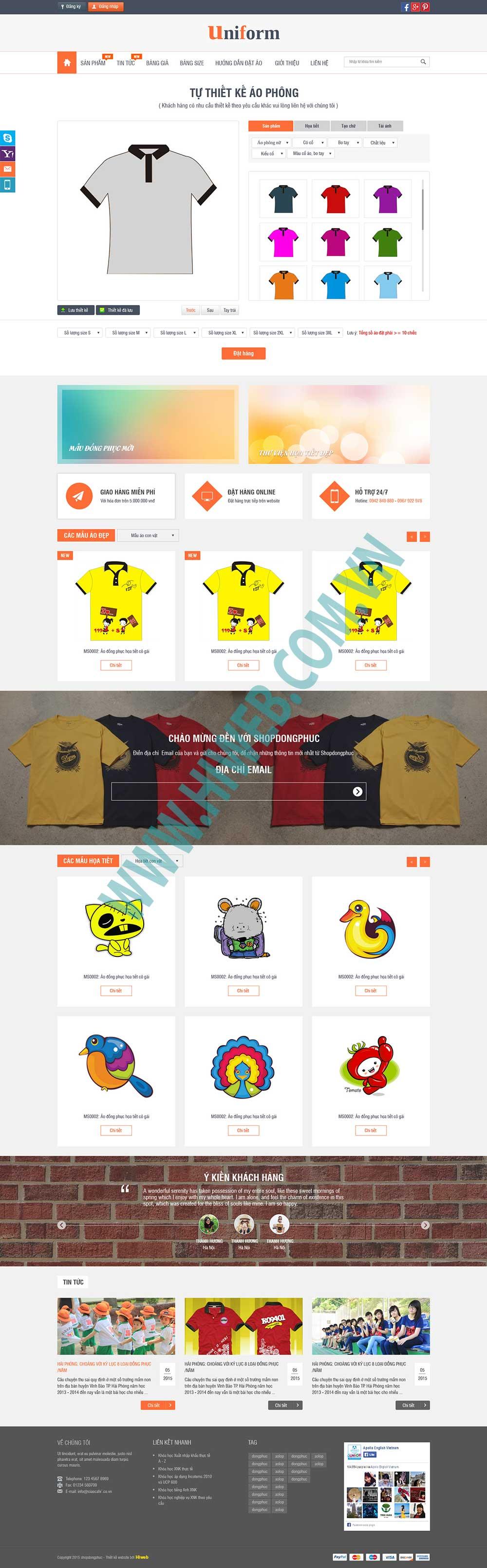 Mẫu website thời trang đồng phục Sunny M002