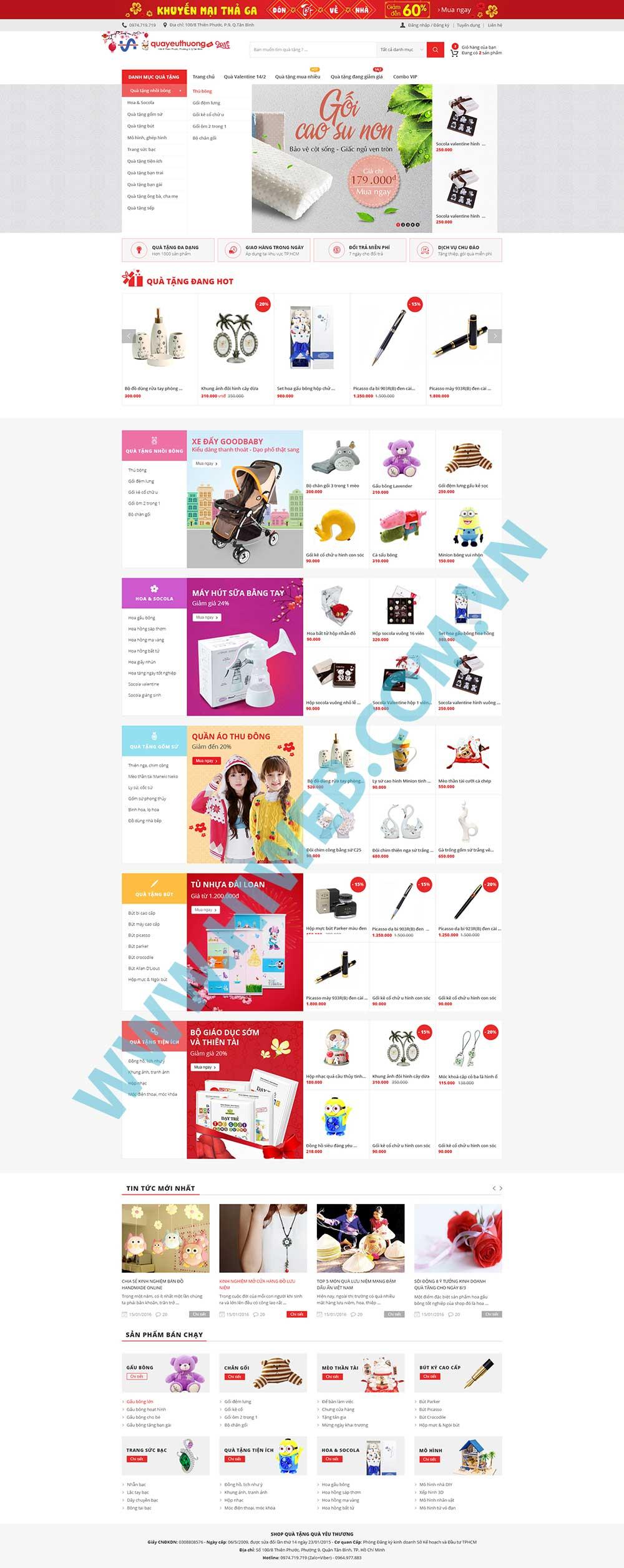 Mẫu website quà tặng yêu thương