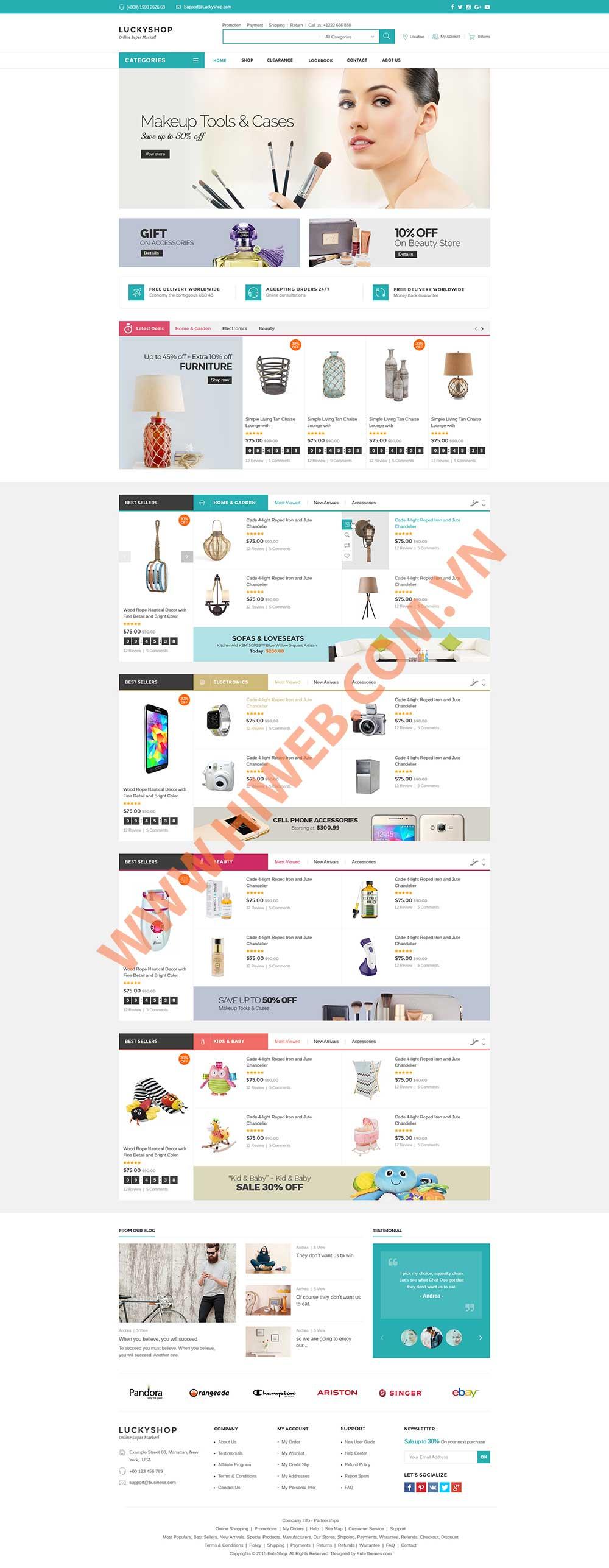 Mẫu website bán hàng luckyshop M002