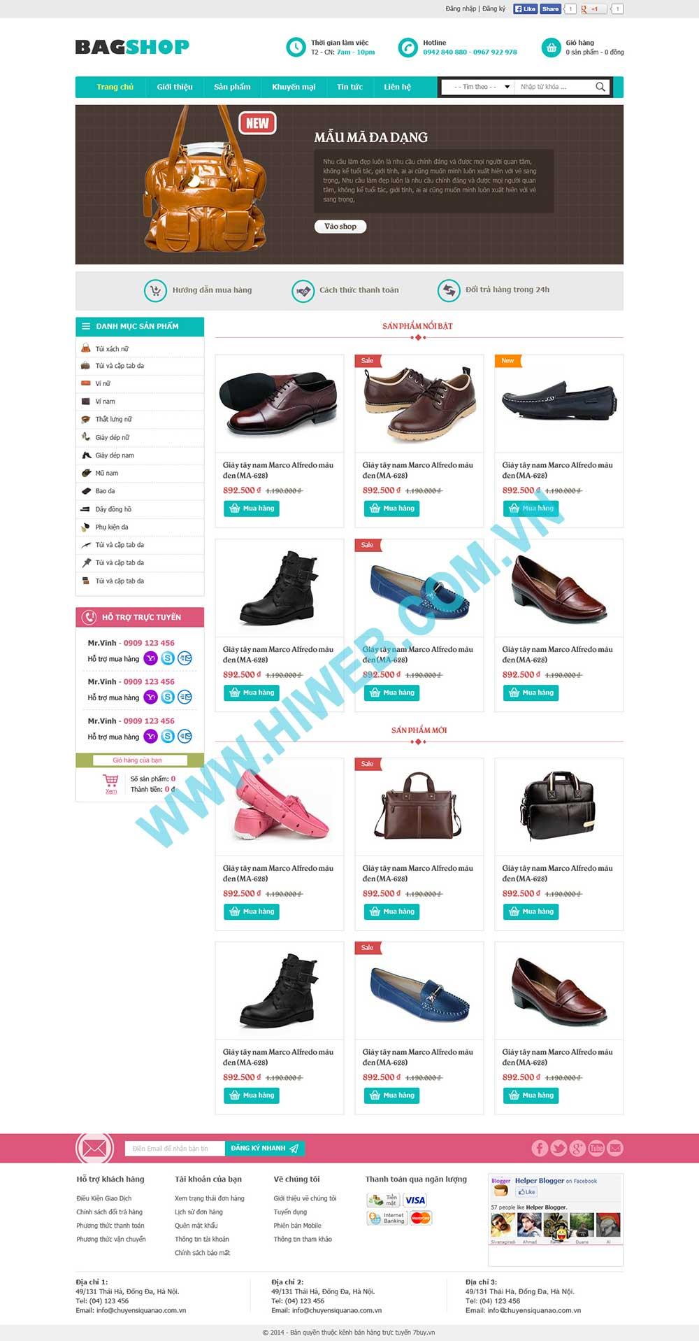 Mẫu thiết kế website shop đồ da Bag Shop