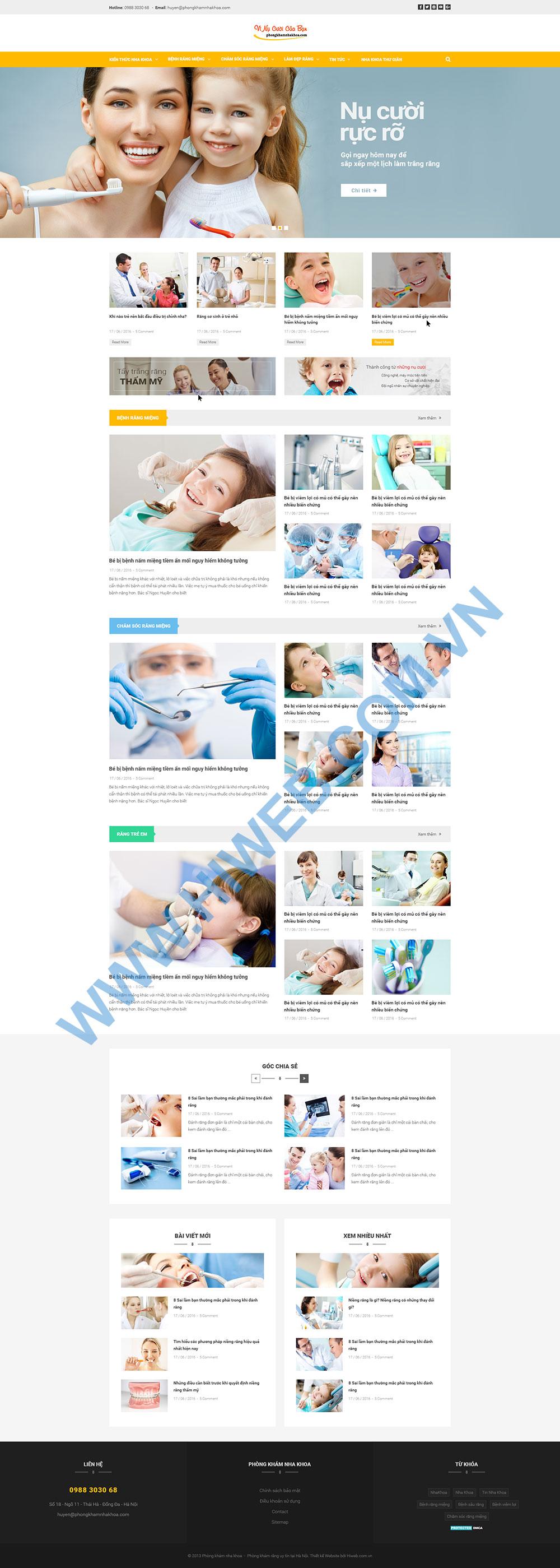 Mẫu website phòng khám nha khoa