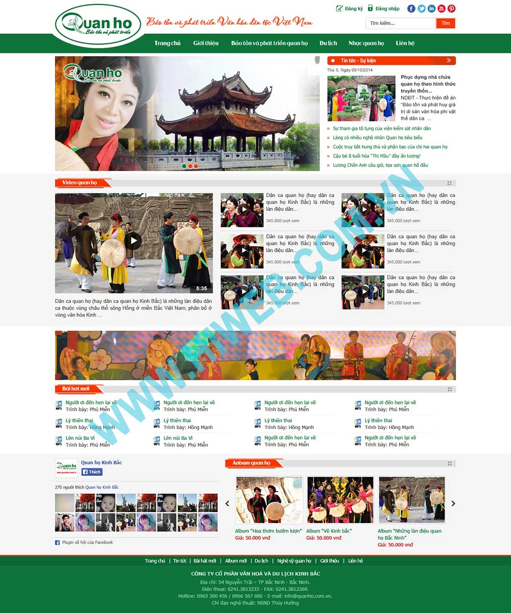 Mẫu website giới thiệu quan họ Kinh Bắc