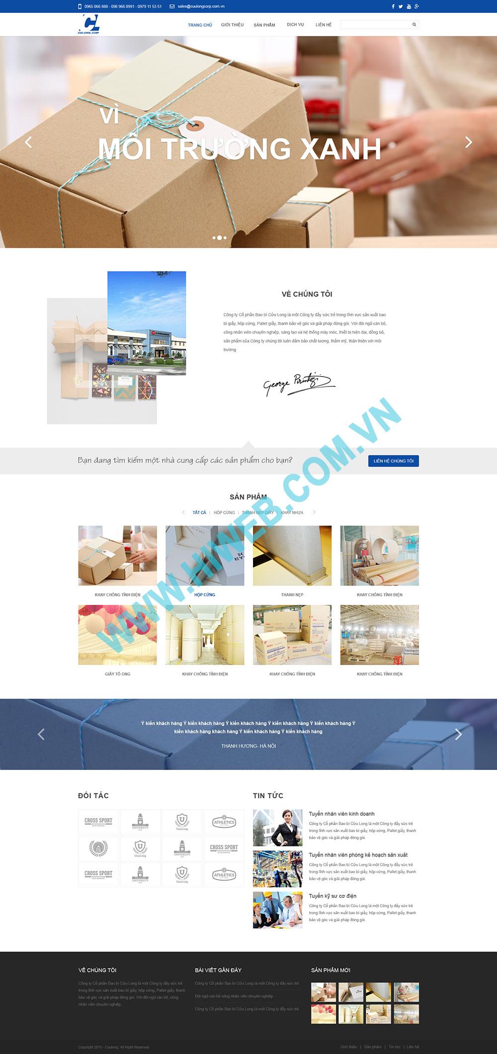 Mẫu thiết kế web giới thiệu hộp giấy Cửu Long