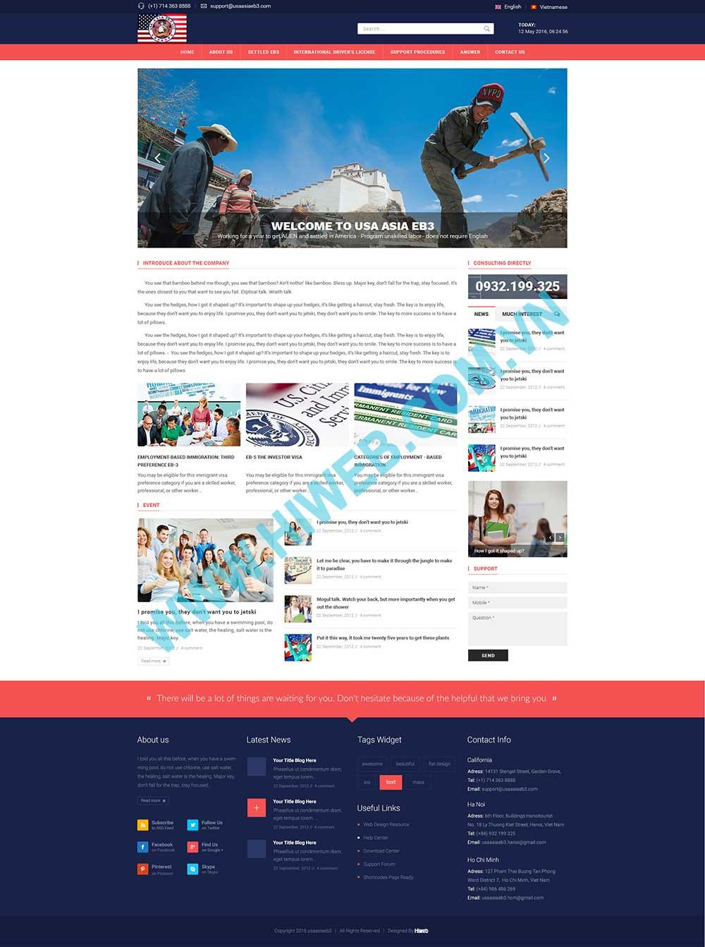 Mẫu website giới thiệu ngôn ngữ tiếng Anh
