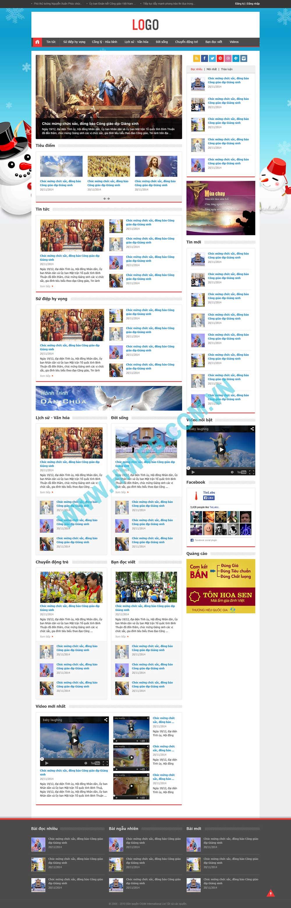 Mẫu thiết kế website tin tức báo chí